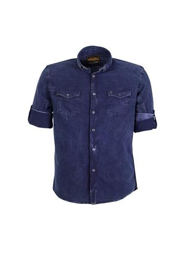 Cosplay Denim Kot Yıkamalı Çift Cepli Katlamalı Kollu Slim Fit Gömlek Mavi